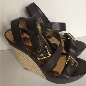 Guess brown strappy ankle wedges